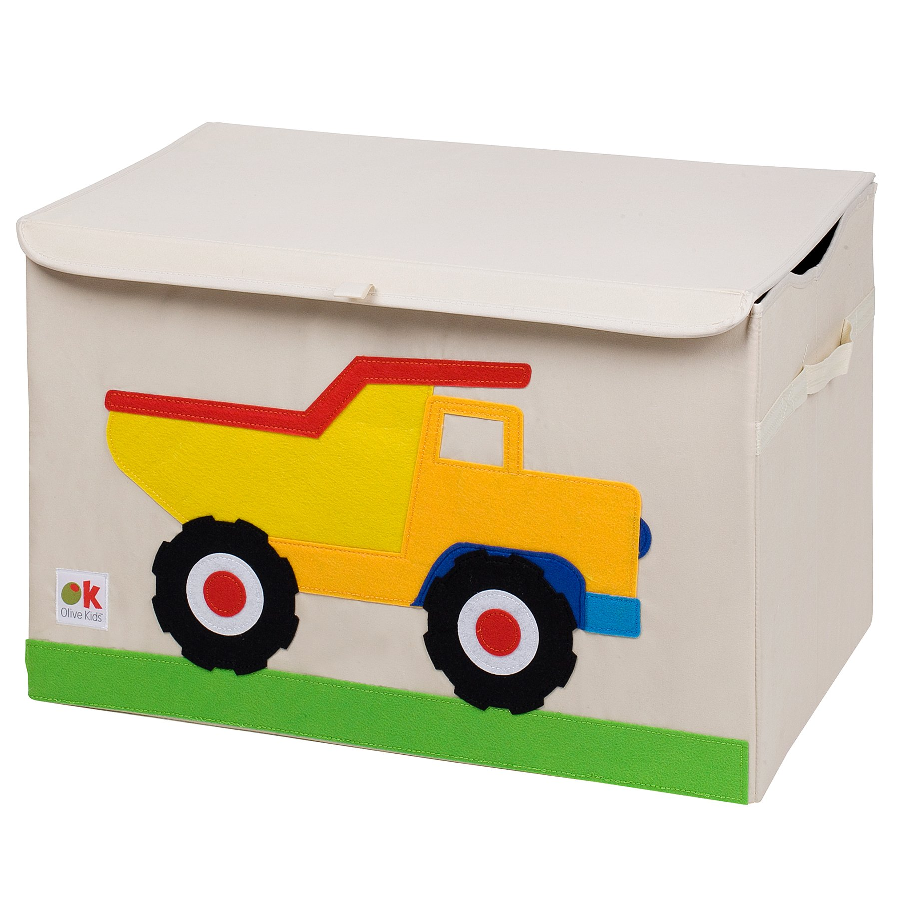 Wildkin Olive Kids Toy Chest, Perfect for Playroom Organization, Measures 24 x 15 x 14 Inches, Coordinates with Other Room Décor – Dump Truck