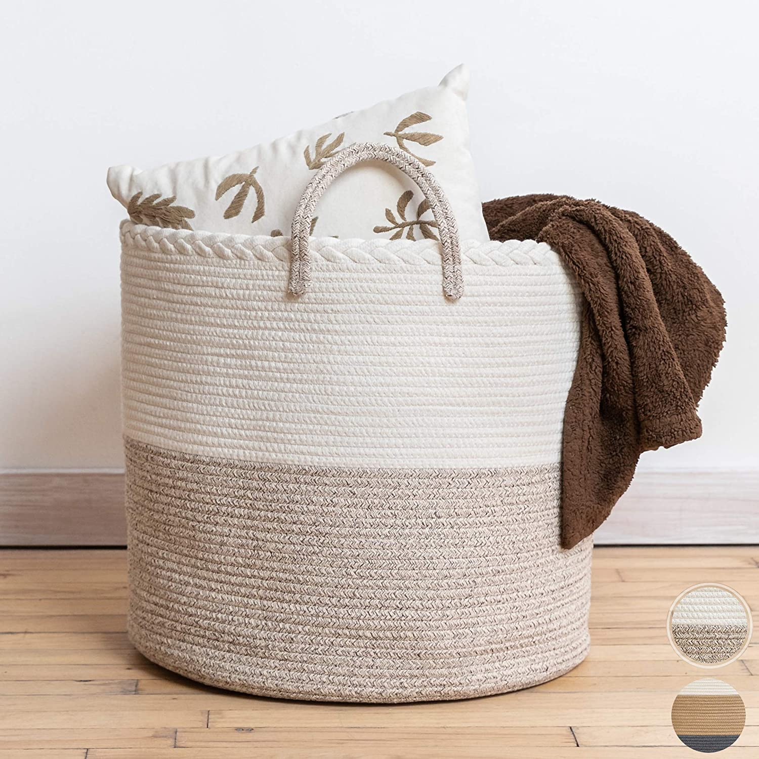 "XXL Premium Cotton Rope Basket 18""x16"" - Large Baskets for Storage – Woven Laundry Basket- Brown Farmhouse Basket -Rope Storage Baskets - Cotton Basket for Living Room Storage - Wicker Basket"