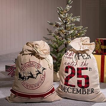 Amazon.com: Glitzhome Bolsa de regalo de Navidad, decoración ...