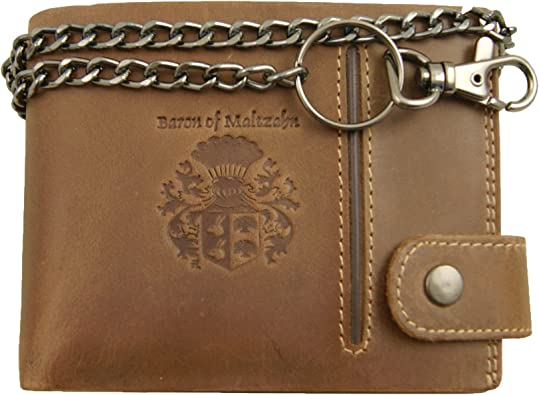 BARON of MALTZAHN Men/'s wallet with chain CARNEGIE brown Rugged-Hide-Leather