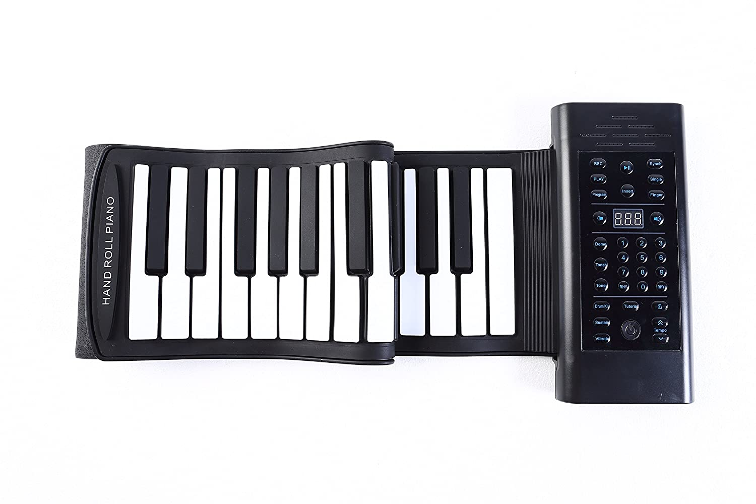 Portable Roll up Piano 61 Keys Chord Built-in Stereo Speaker and 1000mA Lithium Battery MP3 MIDI Microphone for Kids Playing, Learning,Entertainment and Tourism (Built-in Battery and Chord Function)