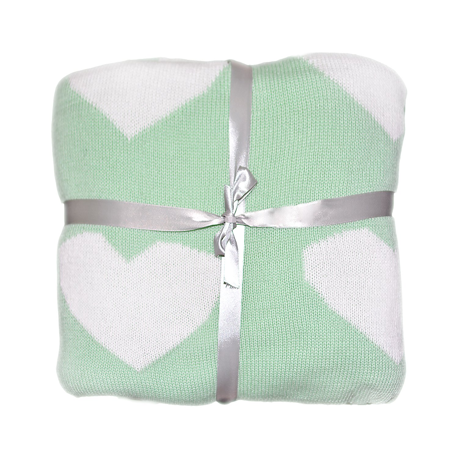 Brandream Soft Kids Baby Blankets Knit Blanket Cotton Best Throw Blanket 43 x 51inch, Mint Heart by Brandream