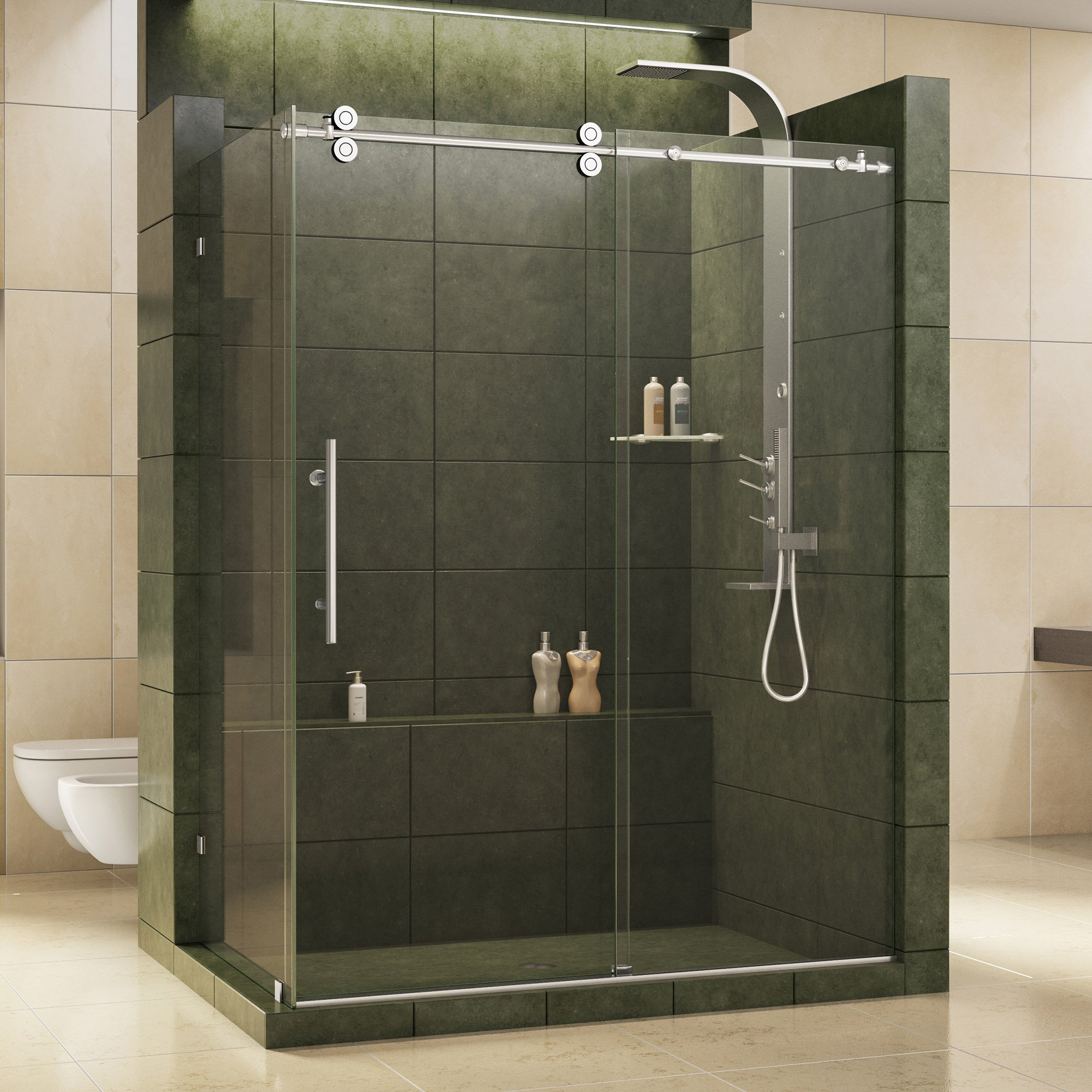 DreamLine Enigma 36 in. D x 56 1/2-60 1/2 in. W, Frameless Sliding Shower Enclosure, 1/2'' Glass, Polished Stainless Steel Finish