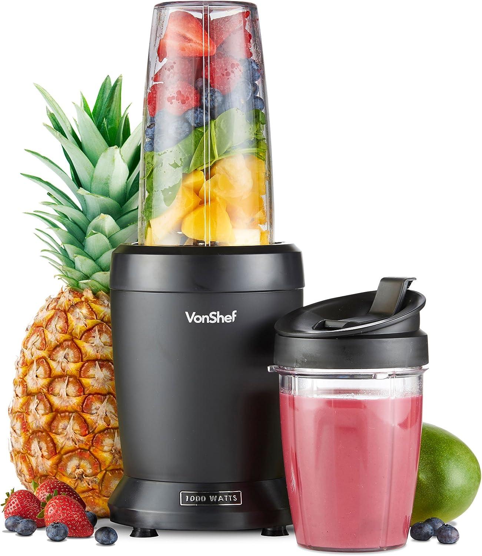 VonShef UltraBlend Licuadora Batidora de Vaso 1000W - incluye Vaso Grande de 800ml, Vaso de 500ml y 2x Tapas