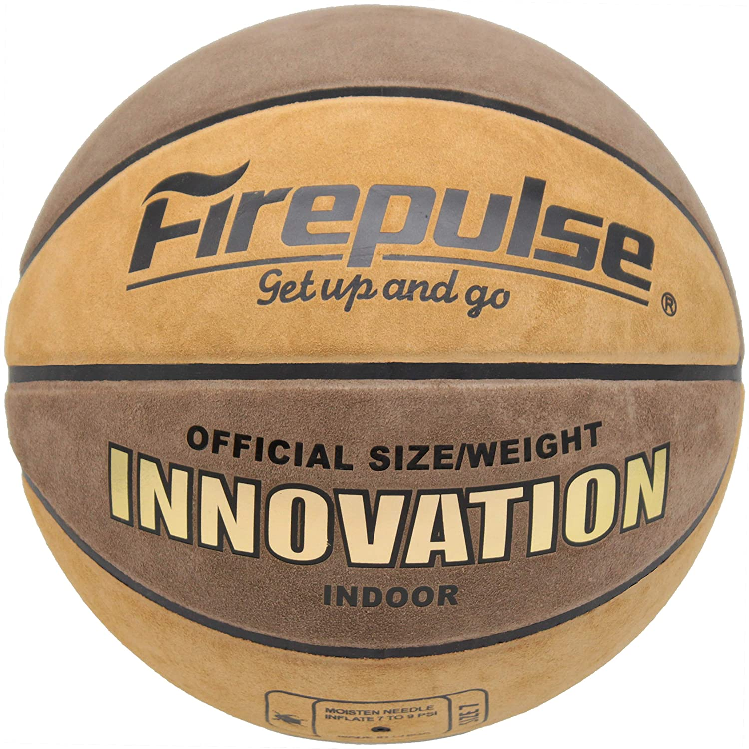 FIREPULSE Innovation Basketball Official Size 7 29.5 Indoor Top Grain Leather Game Basketballs with Free Air Pump,Needles,Basketball Carry Bag