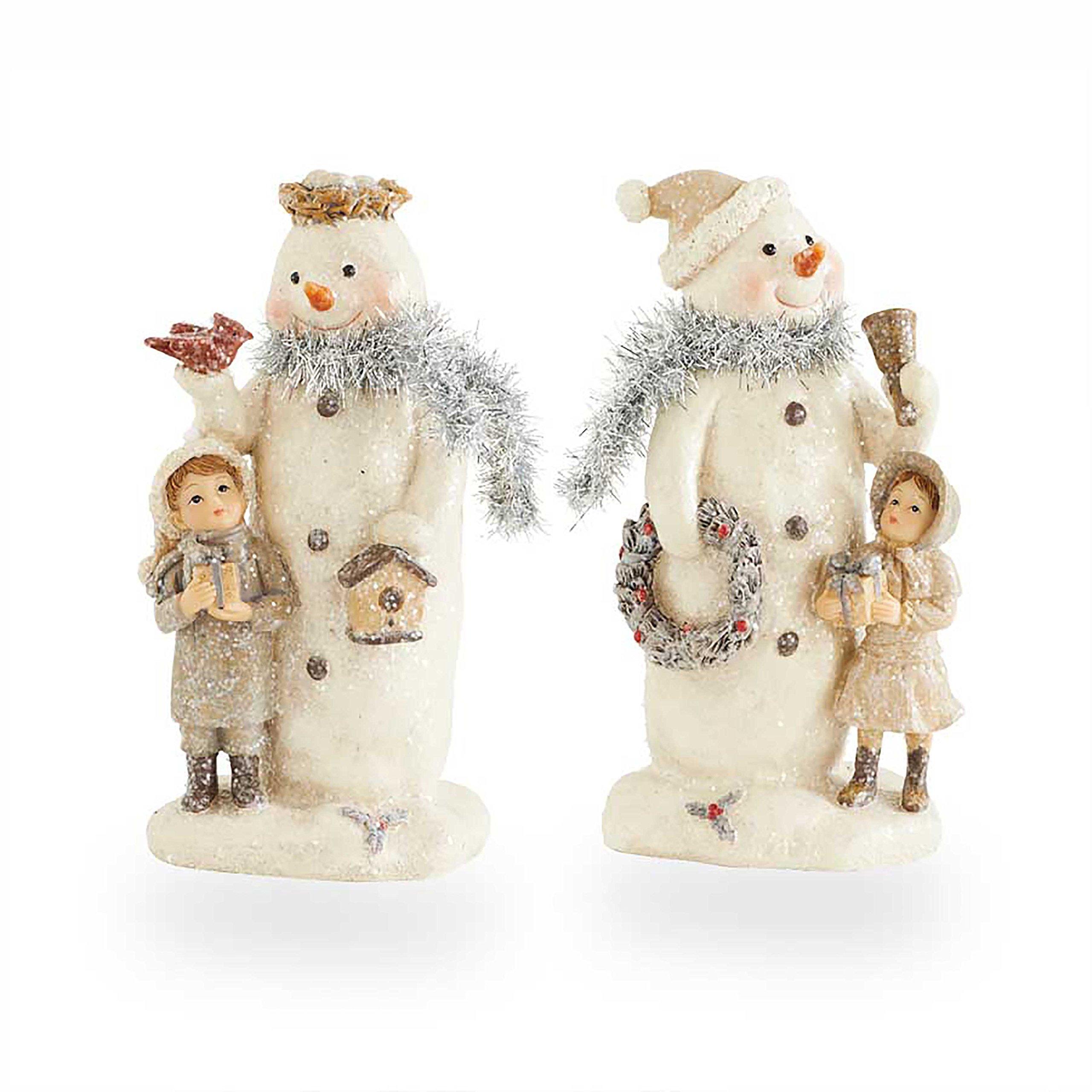 K&K Interiors Vintage Glitter Snowmen with Children Figurines, Resin Tabletop Decor, Set of 2, 7.5 Inch