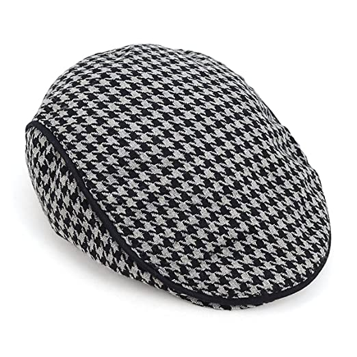 Fall-Winter Houndstooth Pattern Newsboy Ivy Hat at Amazon Men s ... a71295536fa