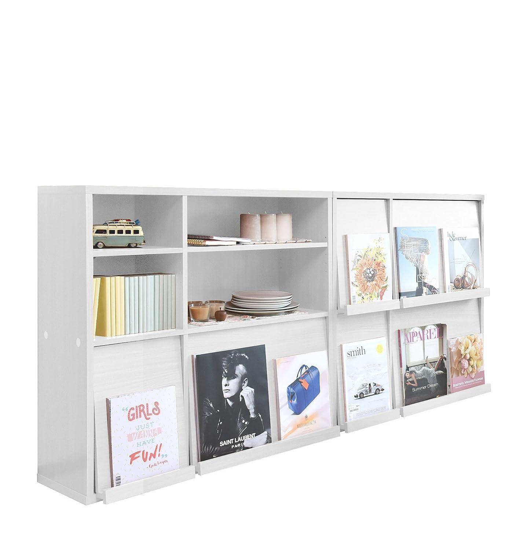 JKプラン ディスプレイラック 本棚 フラップ 扉 2個組 ディスプレイ本棚 フラップ本棚 フラップ書棚 雑誌 マガジン 本 ホワイト SGT1003WH B00B3SFDH8 ホワイト