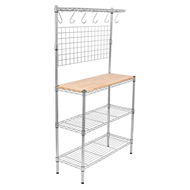 Internet's Best 3-Tier Baker's Rack | Chrome | Kitchen Storage Shelving | Adjustable Wire Stand with Removable Cutting Board and 6 Hanging Hooks