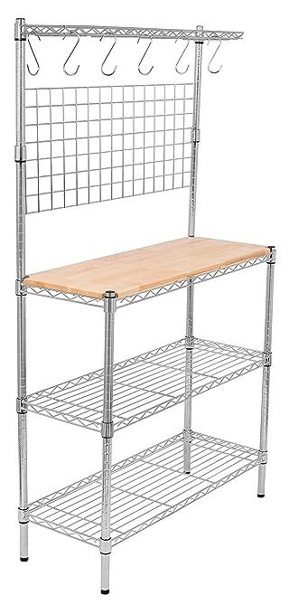 Amazoncom Internets Best Tier Bakers Rack Chrome - Kitchen storage racks shelves