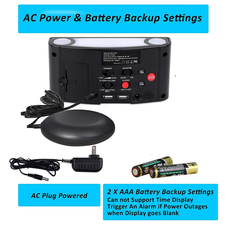 Display/a/Cifre/Grandi/Orologio/de/Comodino /& Dimmer,2/Porte/USB,12//24/Ore,Batteria-Backup,Allarme Forte Sveglia per Pesanti Dormienti,D Sveglia/Digitale/con/Vibrazione /&/Luce/Notturna