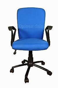 Optimum Ergonomic Office Chair Ii Staff Series, Blue Fabric, Metal Base, Length (46.5 cm), Width ( 46.5 cm), Height (96 cm)
