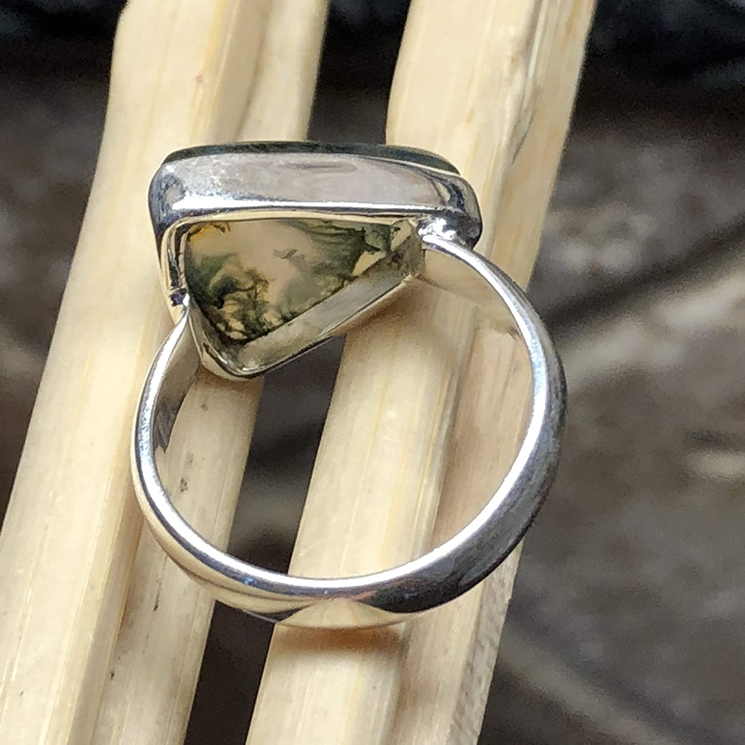 Natural Green Moss Agate 925 Solid Sterling Silver Trillion Shape Ring sz 7