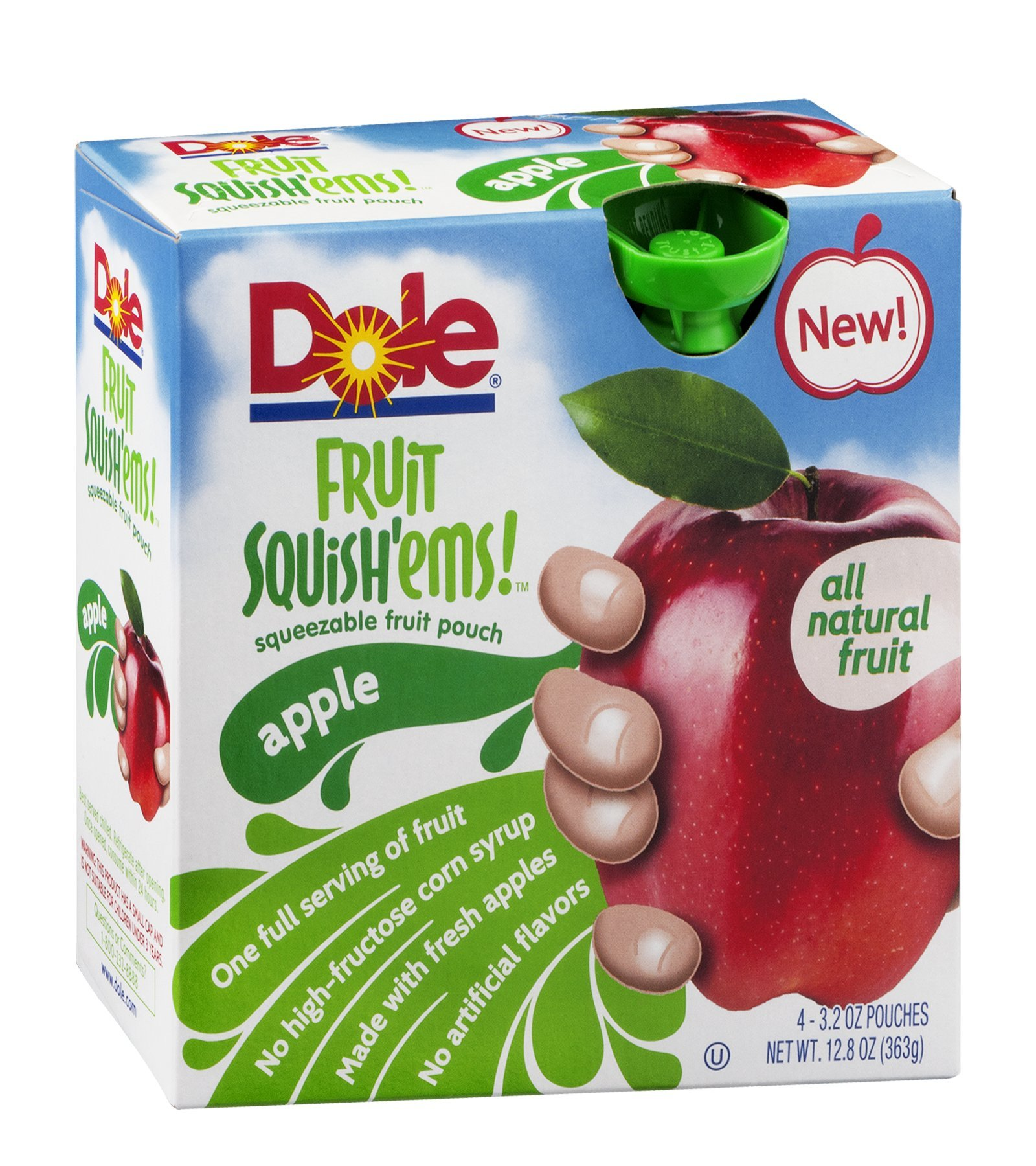Dole Fruit Squish'ems! Squeezable Fruit Pouch Apple 12.8 OZ (Pack of 24) by Dole (Image #1)
