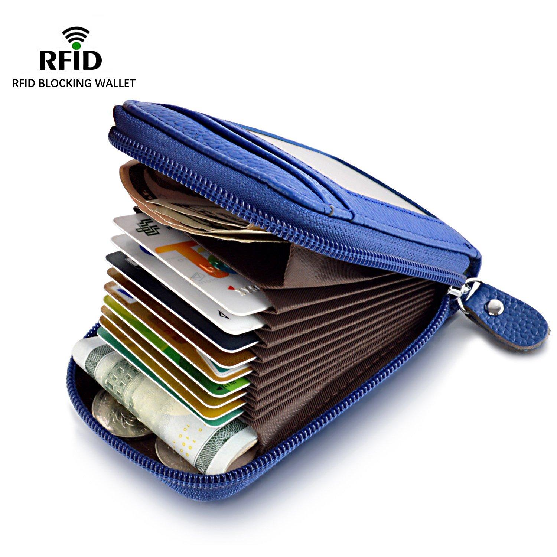 MaxGear RFIDブロックウォレット クレジットカードホルダー クレジットカード財布 本革ウォレット B01MFGZEGW Small-wallet-blue Small-wallet-blue