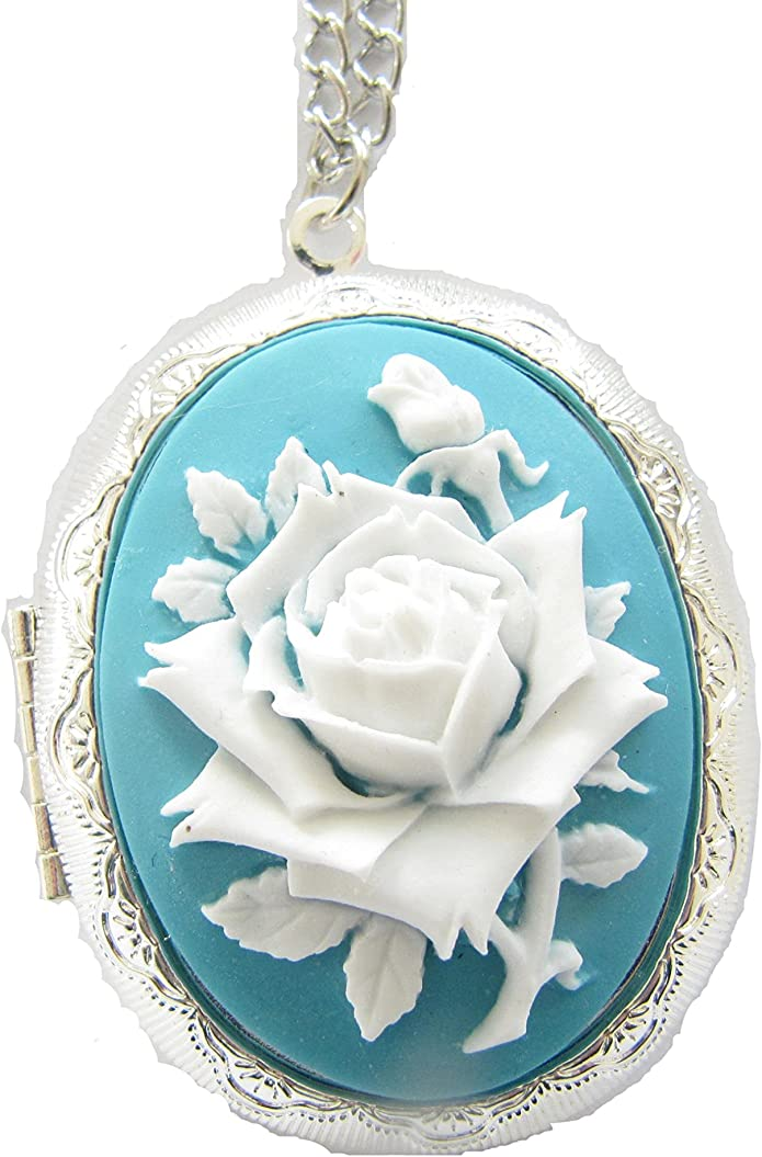 Vintage Cameo Locket Acrylic Locket With 22 Inch Chain Large Picture Locket