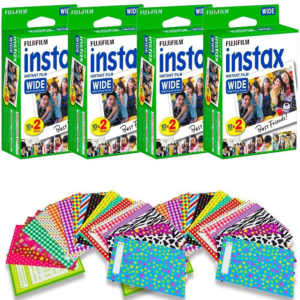 Fujifilm Instax Wide Instant Film for Fuji Instax Wide 210 200 100 300 Instant Photo Camera + 40 assorted colorful pattern stickers (80 Film)