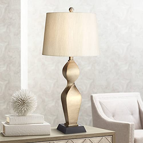 Helen Modern Table Lamp Gold Twist Base Tapered Drum Shade for Living Room Family Bedroom Bedside Nightstand Office – Possini Euro Design
