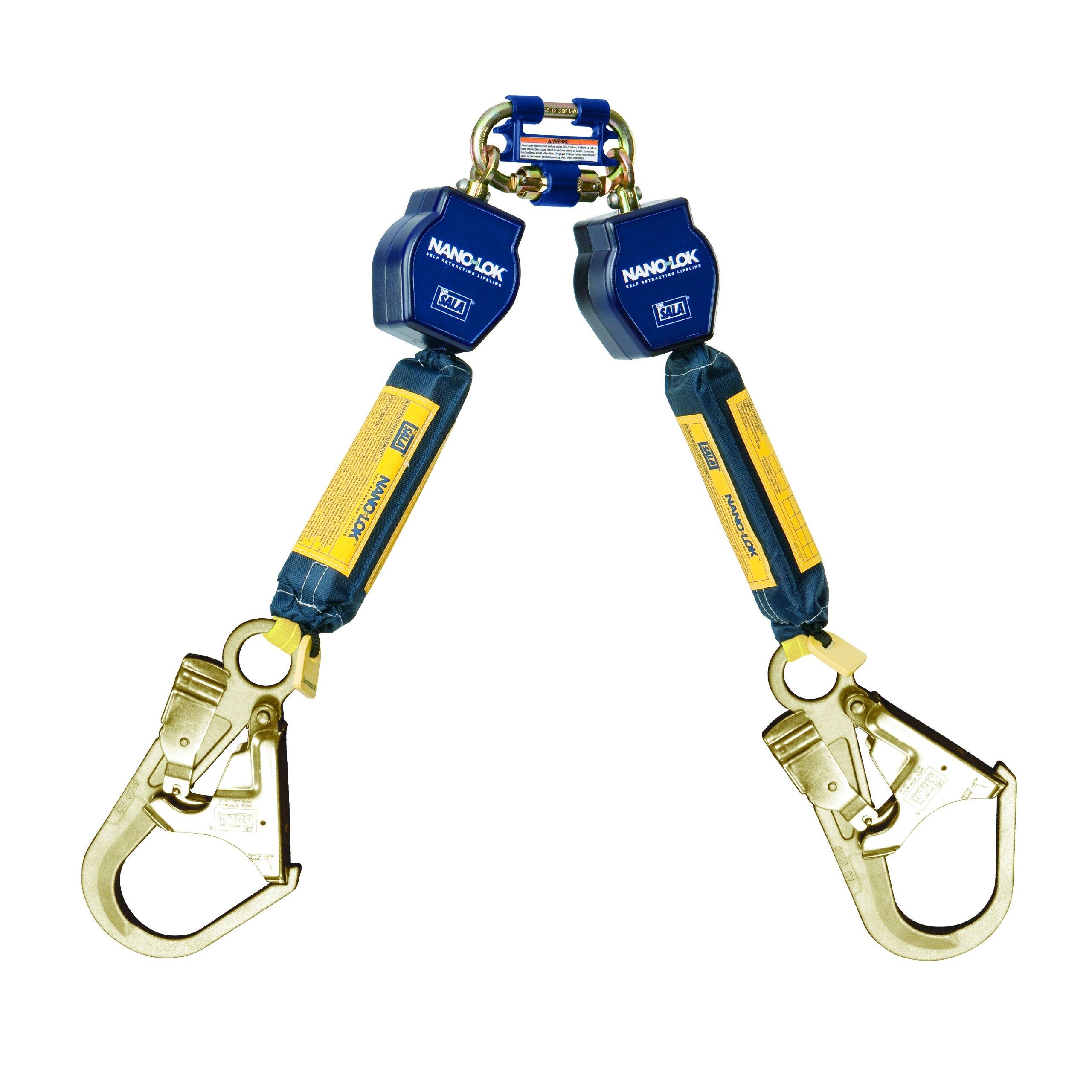 3M DBI-SALA Nano-Lok 3101280 Twin Leg Self Retracting Lifeline, 6', 3/4'' Dyneema Poly Web, Steel Rebar Hooks, Quick Connect Harness Mount,Navy/Yellow