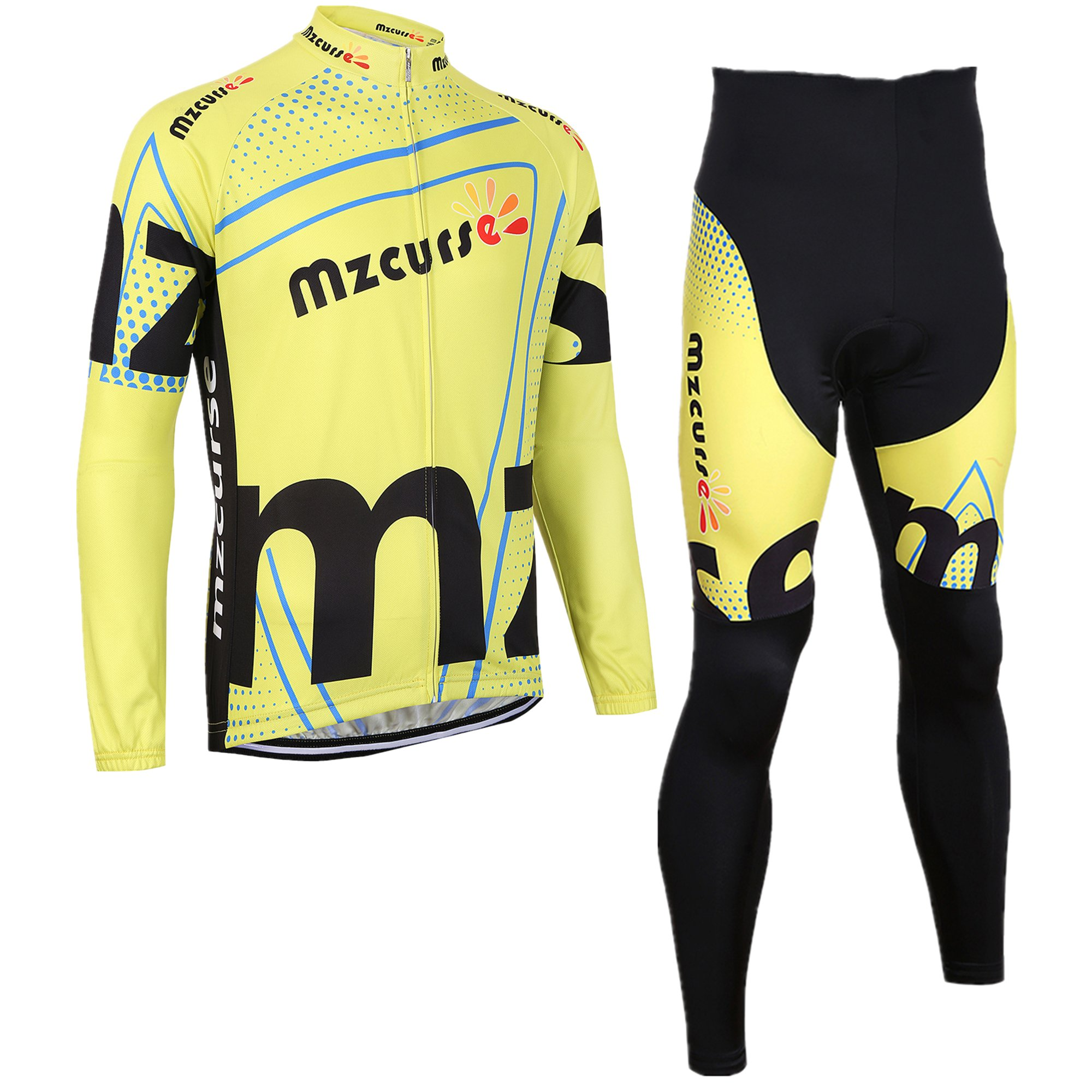 mzcurse Bicycle Bike Cycling Long Sleeve Jersey Jacket + Pants Shorts Set Skin Suits (Yellow, Small,please check the size chart)