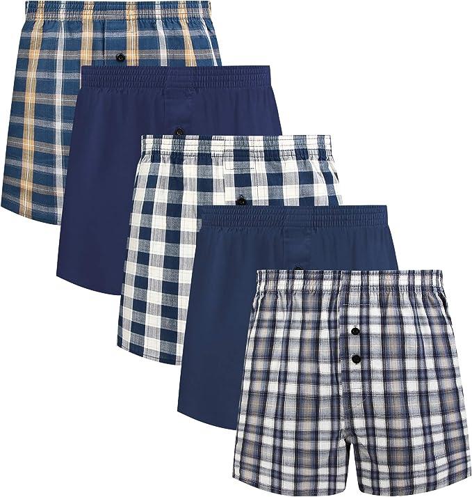 Mens Kingsize Boxers Pants Woven Boxer Shorts Plaid Pack of 2 Two Big Size 17