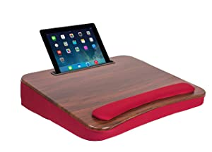 Sofia + Sam All Purpose Memory Foam Lap Desk (Burgundy and Wood Top) - Supports Laptops Up to 17 Inches