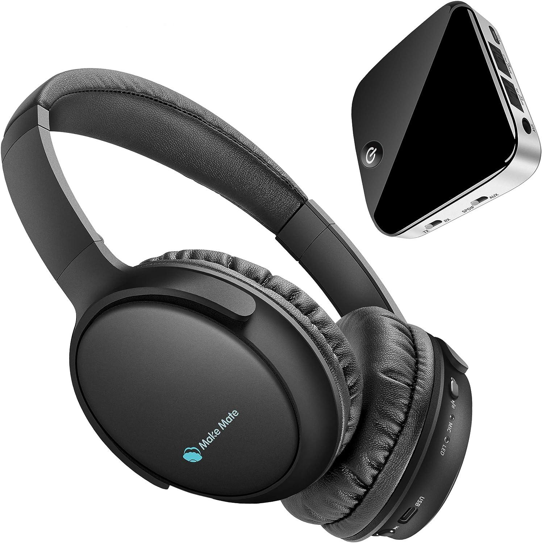 Auriculares de TV BKM100 inalámbricos para TV con transmisor Bluetooth y receptor (CSR BC8670) con óptica, Plug & Play, plegable, sin demora, Hi-Fi estéreo digital para TV/Teléfonos/PC: Amazon.es: Electrónica