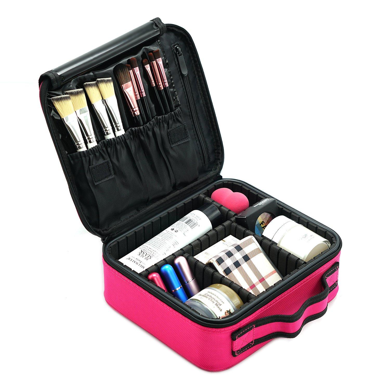 MONSTINA Makeup Organizer/Hanging Toiletry Bag/Makeup Train Case/Toiletry Kit Organizer Waterproof Travel Hanging Organizer Bag For Women/Girls (Rose Red)