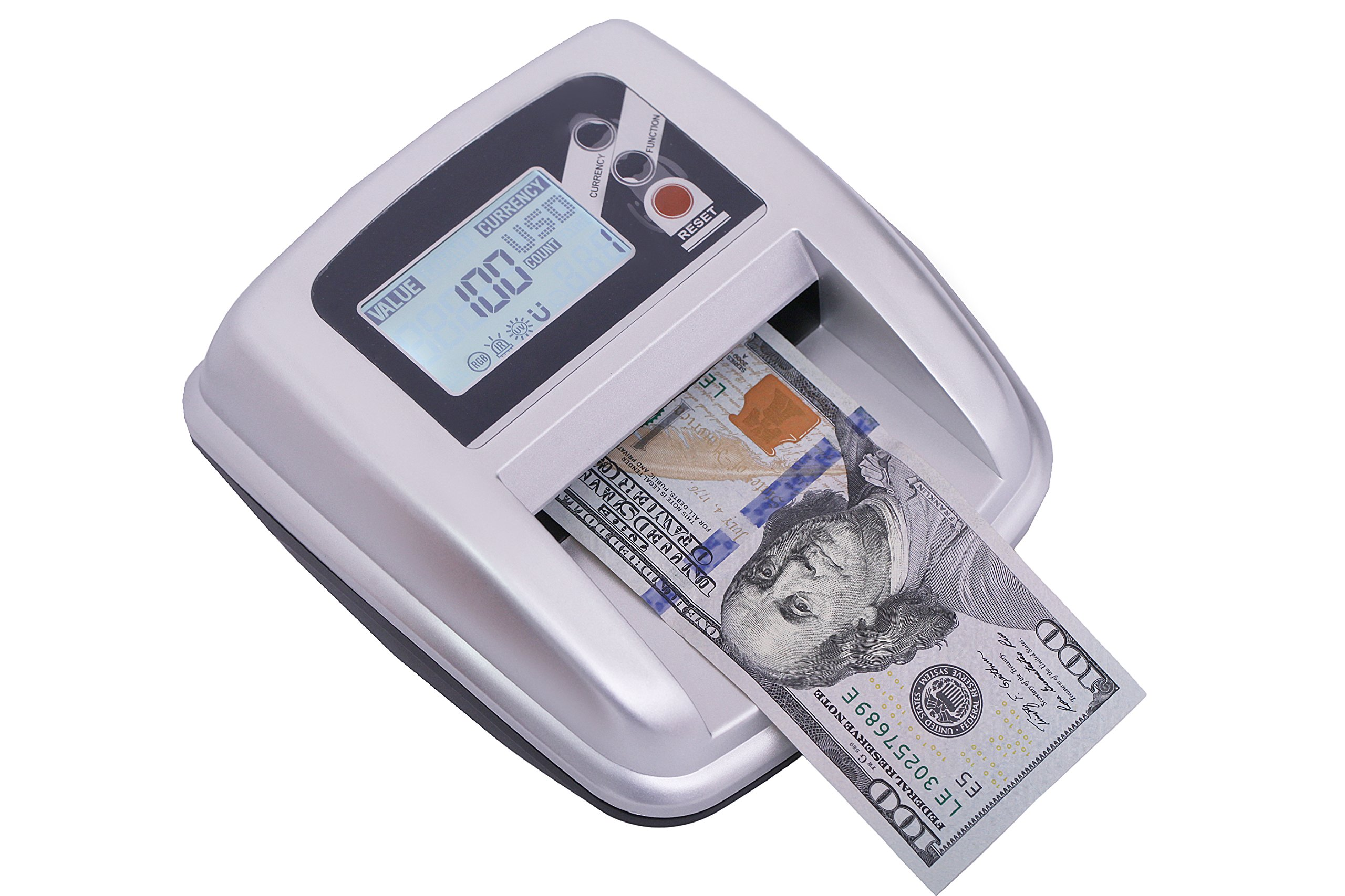 Full Screen Options (Denomination/Total Value) Counterfeit Money Detector With MG/UV/IR/MULTI SPECTRUM Detection.