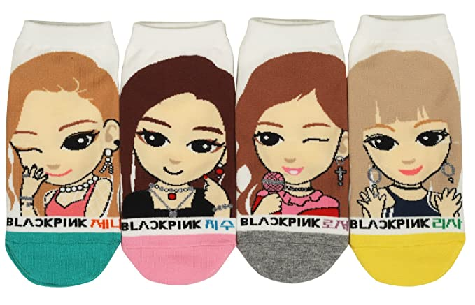 Women K Pop Novelty Ankle Socks Black Pink 4 Pairs At Amazon
