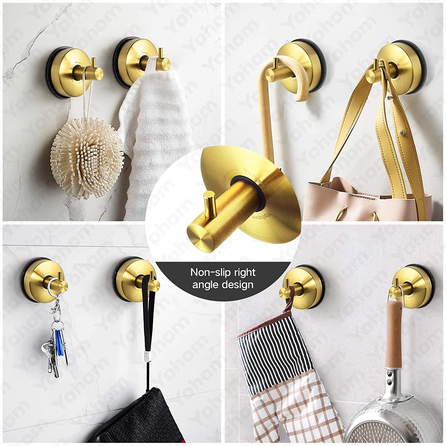 Yohom 2Pcs Vacuum Suction Cup Towel Hooks for Shower Bathroom Suction Hook Towel Holder Rack Kitchen Organizer for Robe Loofah Coat Stainless Steel Brushed Gold - -