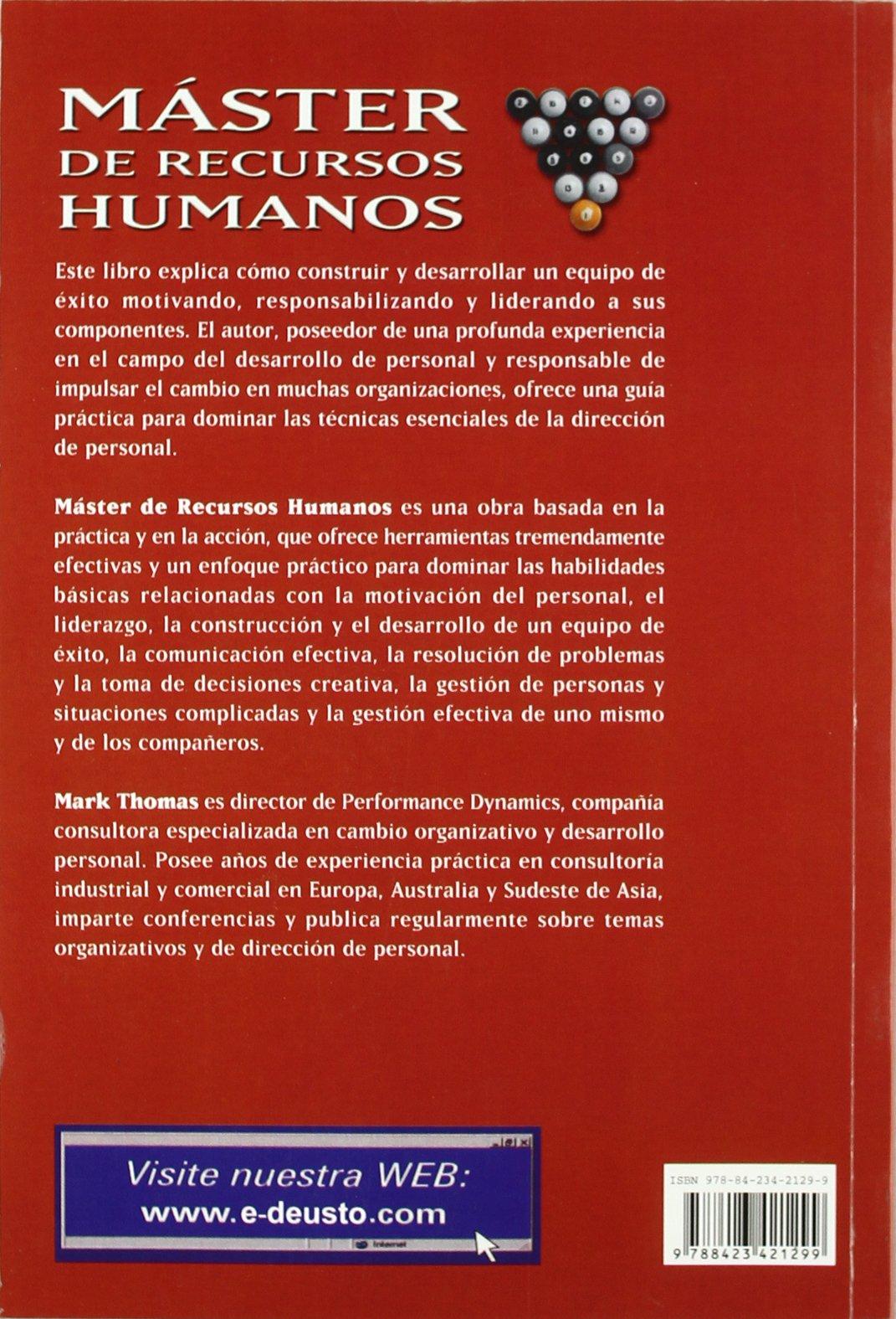 Máster de recursos humanos: Construir un equipo de éxito: motivar,responsabilizar y liderar: Amazon.es: Thomas, Mark: Libros