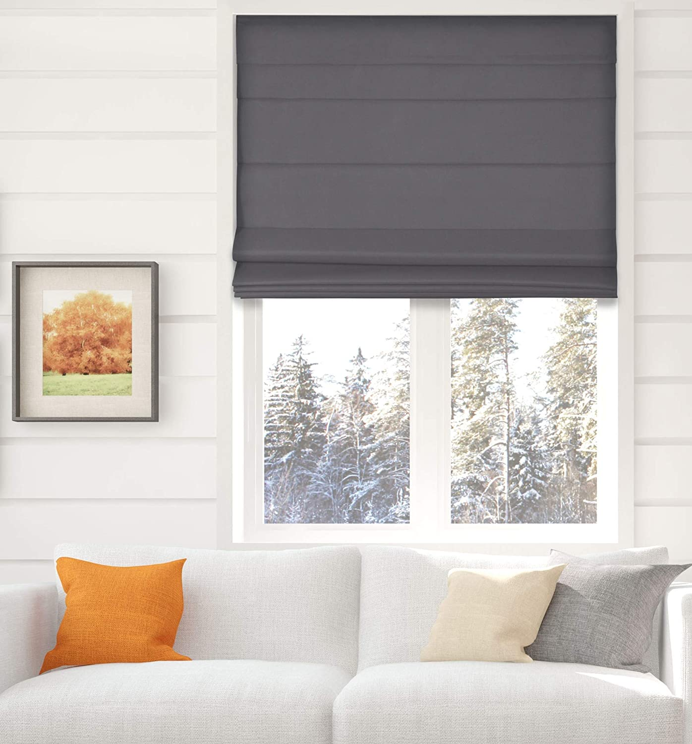 Amazon Com Arlo Blinds Thermal Room Darkening Fabric Roman Shades Color Graphite Size 22 W X 60 H Cordless Lift Window Blinds Home Kitchen