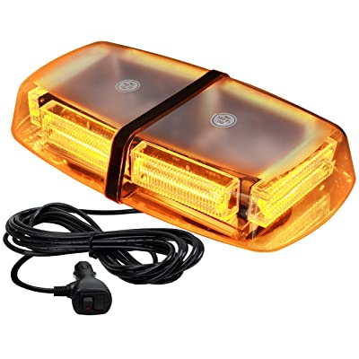 VKGAT 48 LED Roof Top Strobe Lights, Emergency Hazard Warning Safety Flashing LED Mini Bar Strobe Light for Truck Car Snow Plow Vehicles, Waterproof and Magnetic Mount (Amber): Automotive