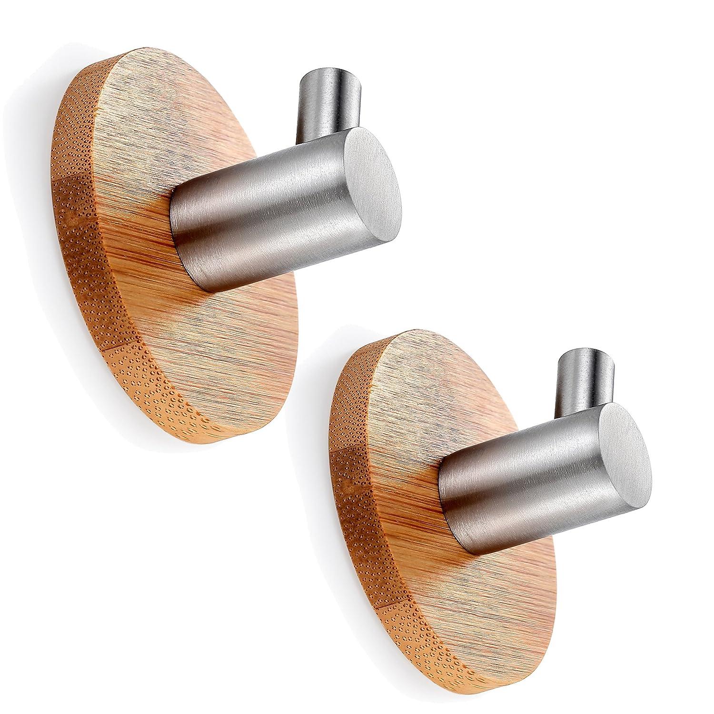 BasicForm Adhesive Hooks Bamboo & Stainless Steel Ultra Strong 3M Damage Free (1-Hook + 2-Hook)