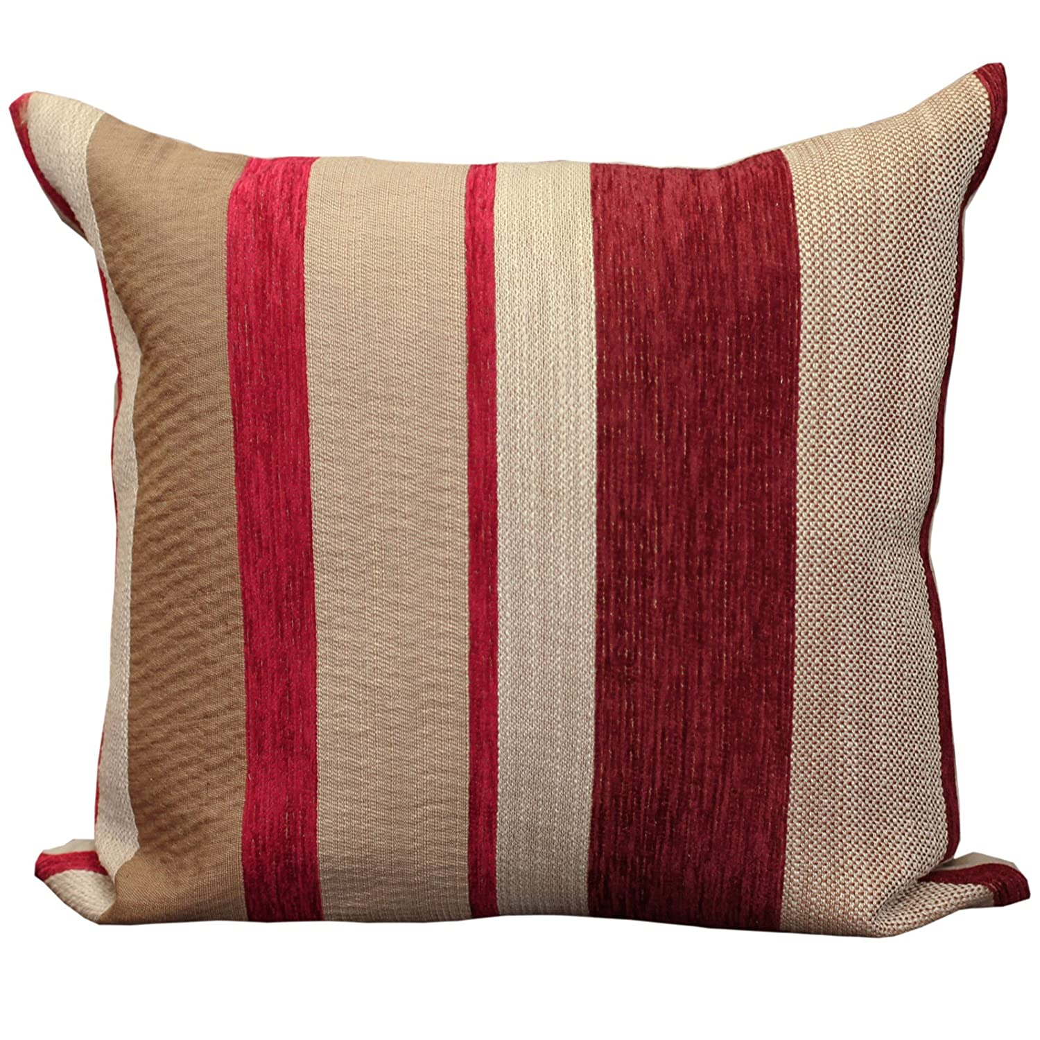 Just Contempo Chenille Striped Cushion Cover Red 17x17 inches