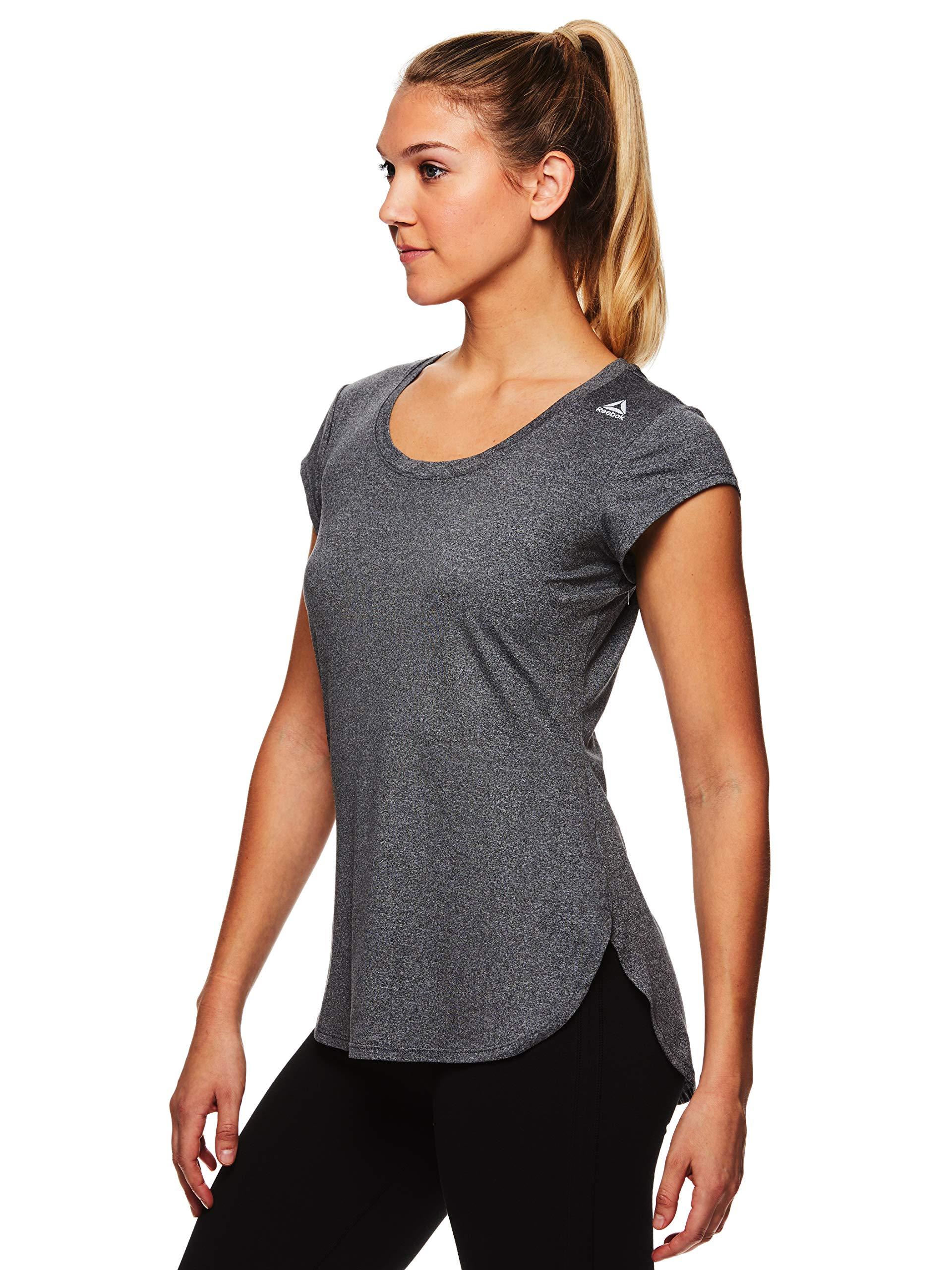 Reebok Women's Legend Performance Short Sleeve T-Shirt with Polyspan Fabric - Charcoal Semi Heather, X-Small by Reebok (Image #2)