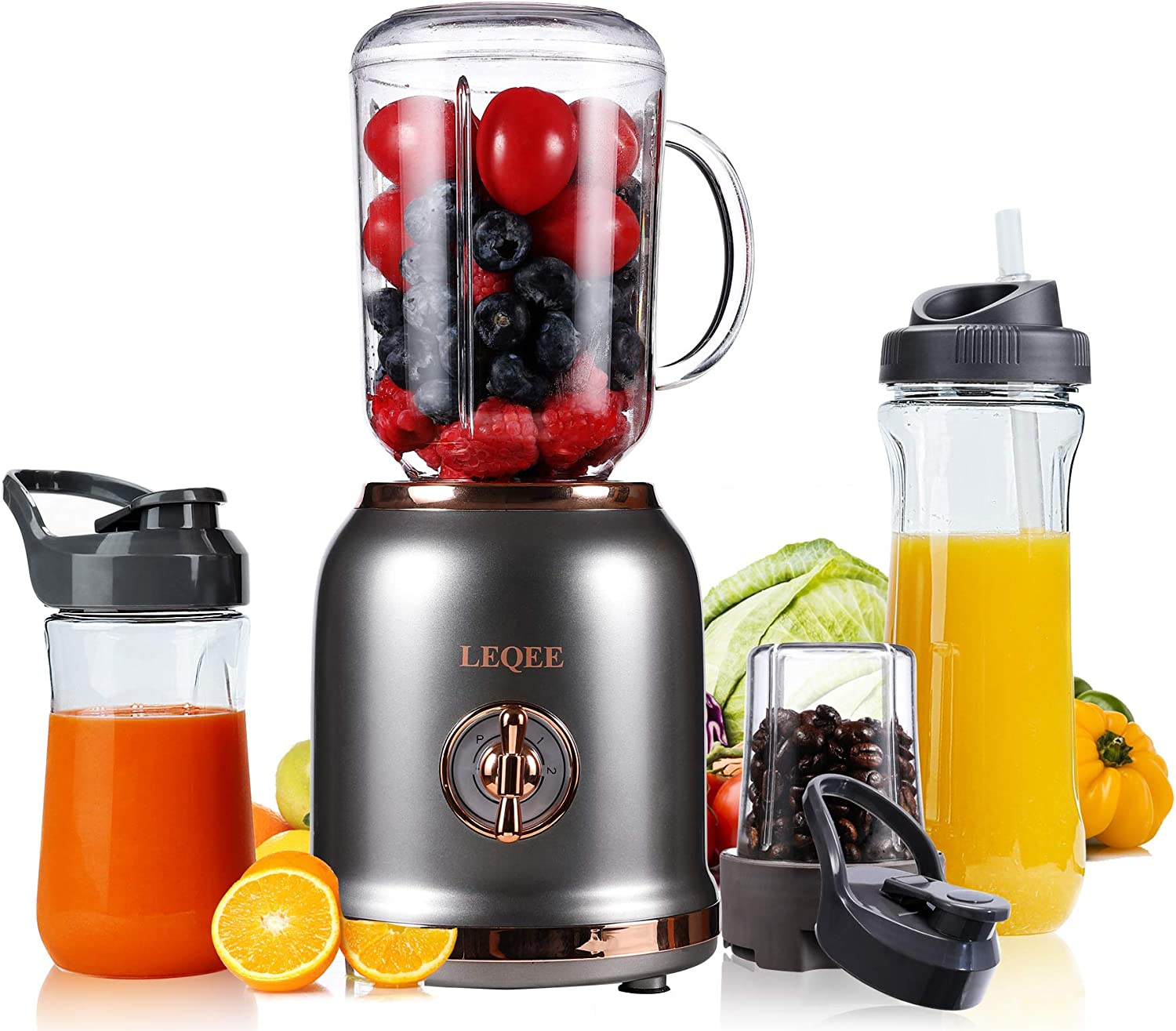 Personal Blender for Shakes and Smoothies,Portable blender with 3 Adjustable Speeds,2-in-1 Small Kitchen Blender with 2 Blades, Smoothie Blender for Kitchen with 4 BPA-free Bottle,1 Straw