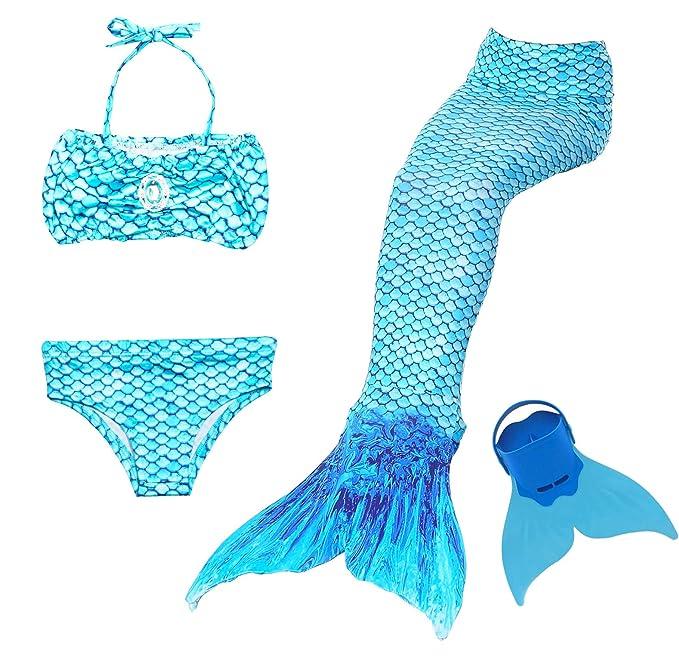 c7c138719dff NMY Coda da Sirena per Nuotare Costumi da Bagno 4pcs con Monopinna Mermaid  Insiemi del Bikini Cosplay Costume da Sirena Bambina: Amazon.it:  Abbigliamento