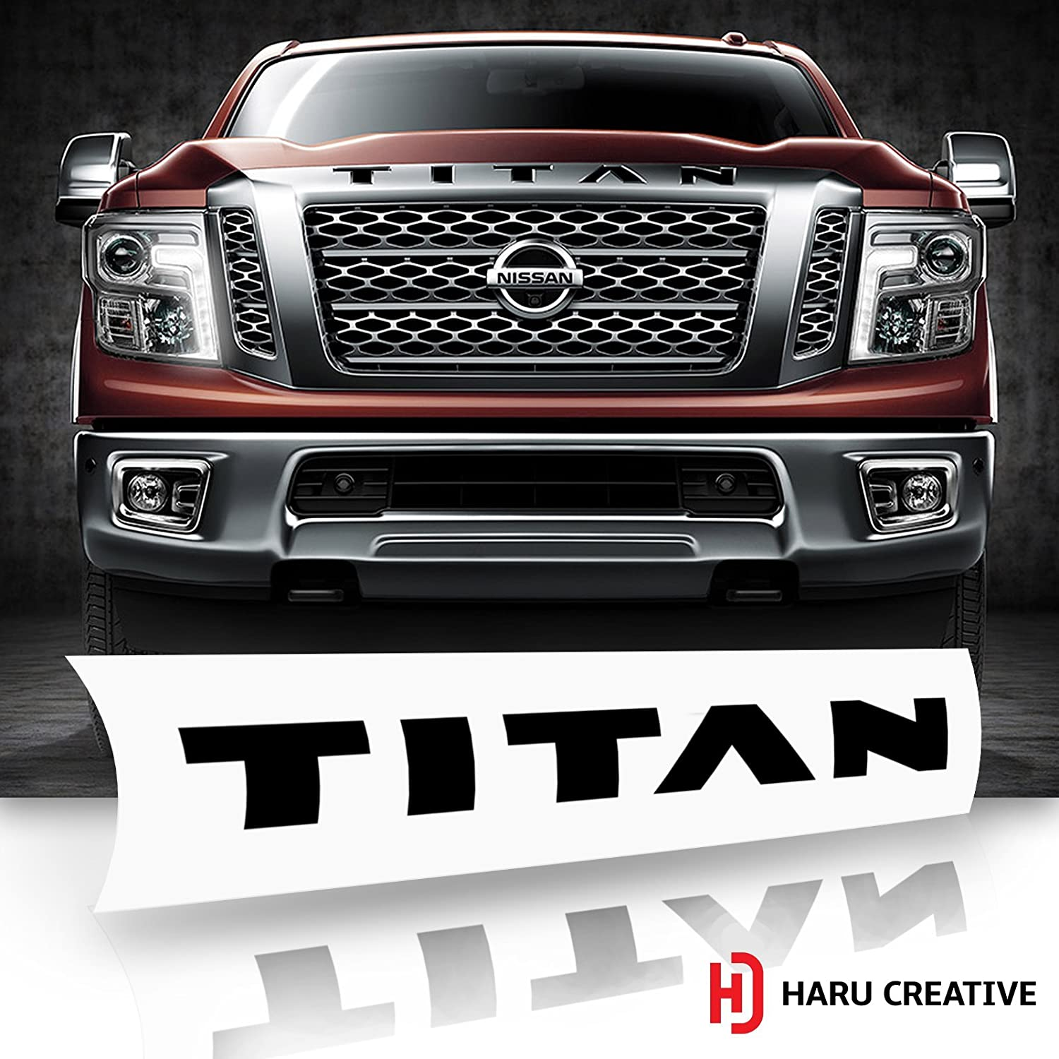 Front Hood Grille Emblem Letter Insert Overlay Vinyl Decal Stickers Compatible with and Fits Nissan Titan XD 2016 2017 2018 Haru Creative Chrome Silver Loyo