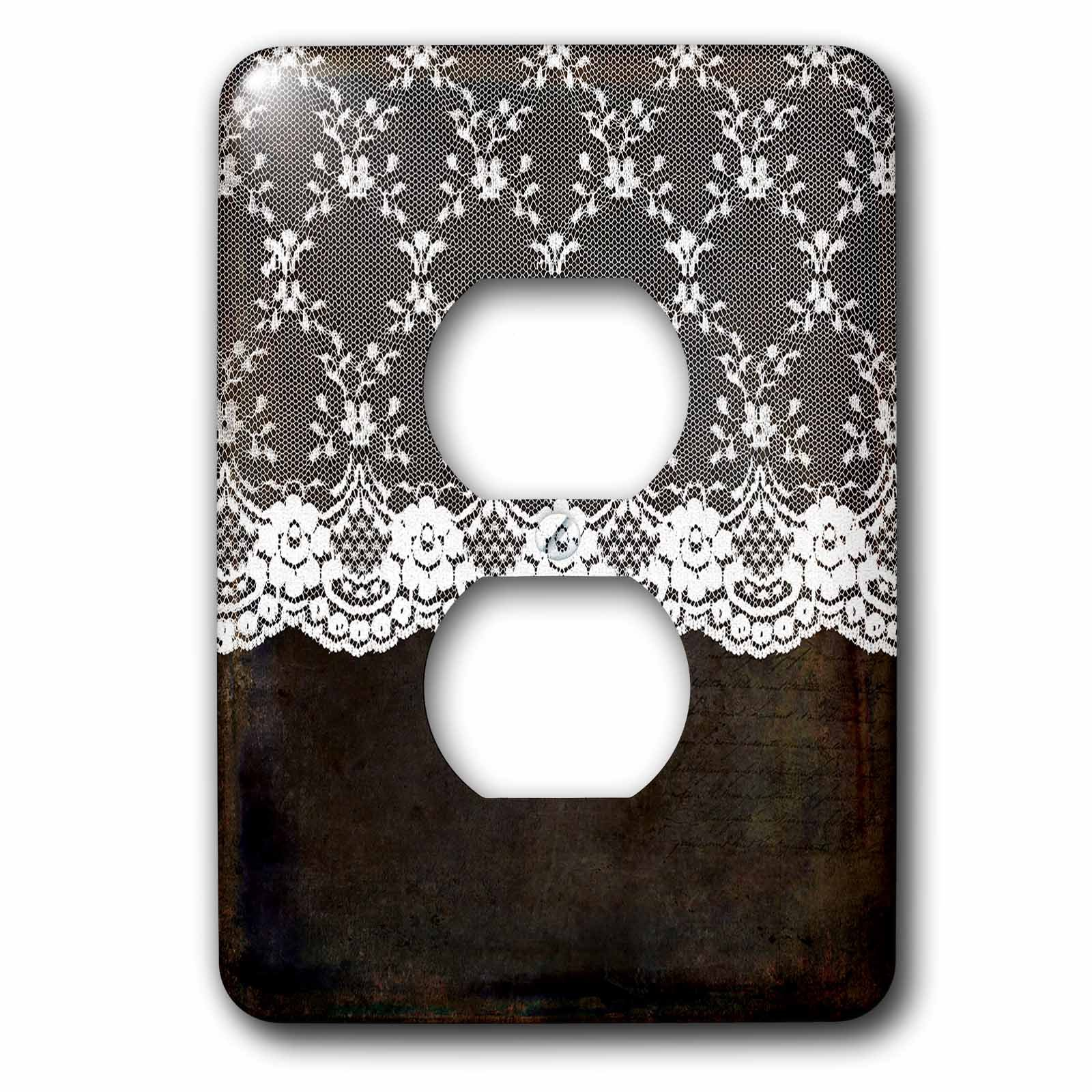 3dRose Uta Naumann Vintage Lace Collection - White Floral Flower Luxury Lace on Dark Grunge Background - Light Switch Covers - 2 plug outlet cover (lsp_255592_6)