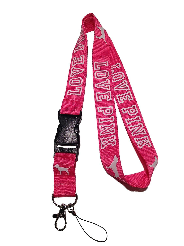 Amazon.com: Amor rosa cordón rosa correa de cuello llavero ...