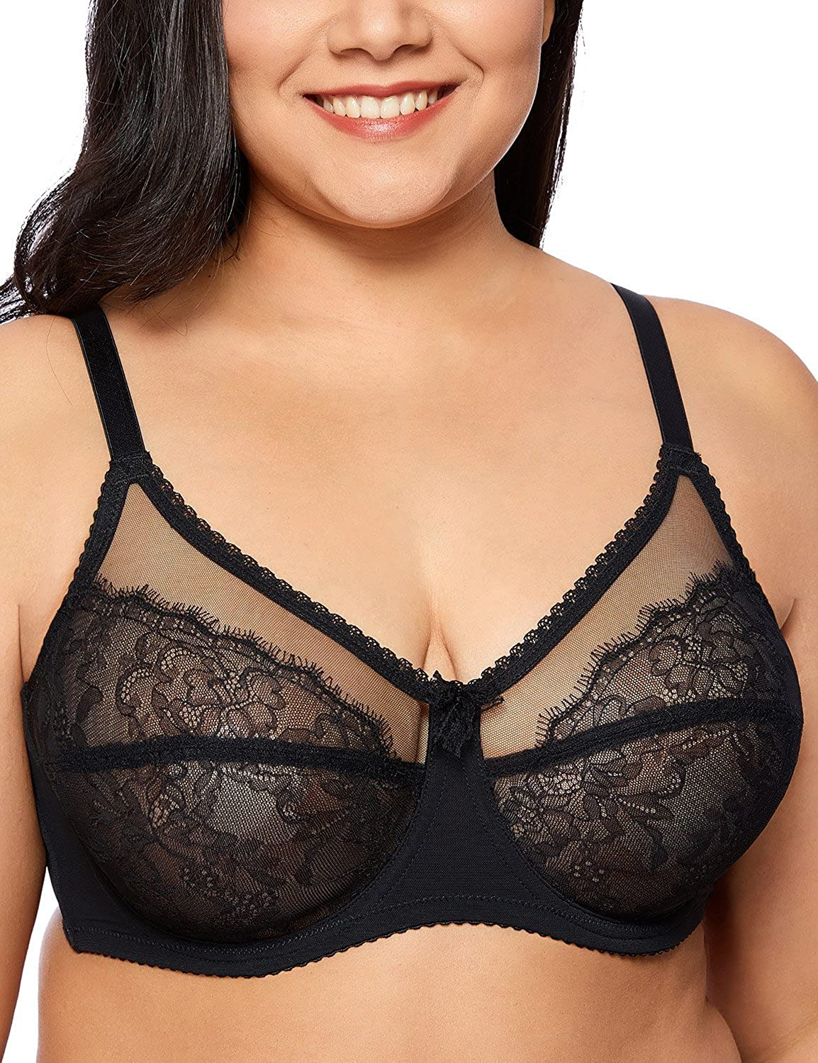 e8482e0d41f Gobought Womens Lace Sheer Full Cup Plus Size Bra Mesh See Through Unlined  Bralette Underwire at Amazon Women s Clothing store