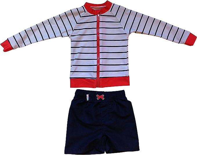 SwimZip Kids Short Sleeve Rash Guard UPF 50+ Euro Swim Shorties Set