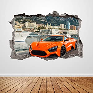 Lamborghini Wall Decal Smashed 3D Graphic Orange Racing Car Wall Sticker Art Mural Poster Kids Room Decor Gift UP189 (24