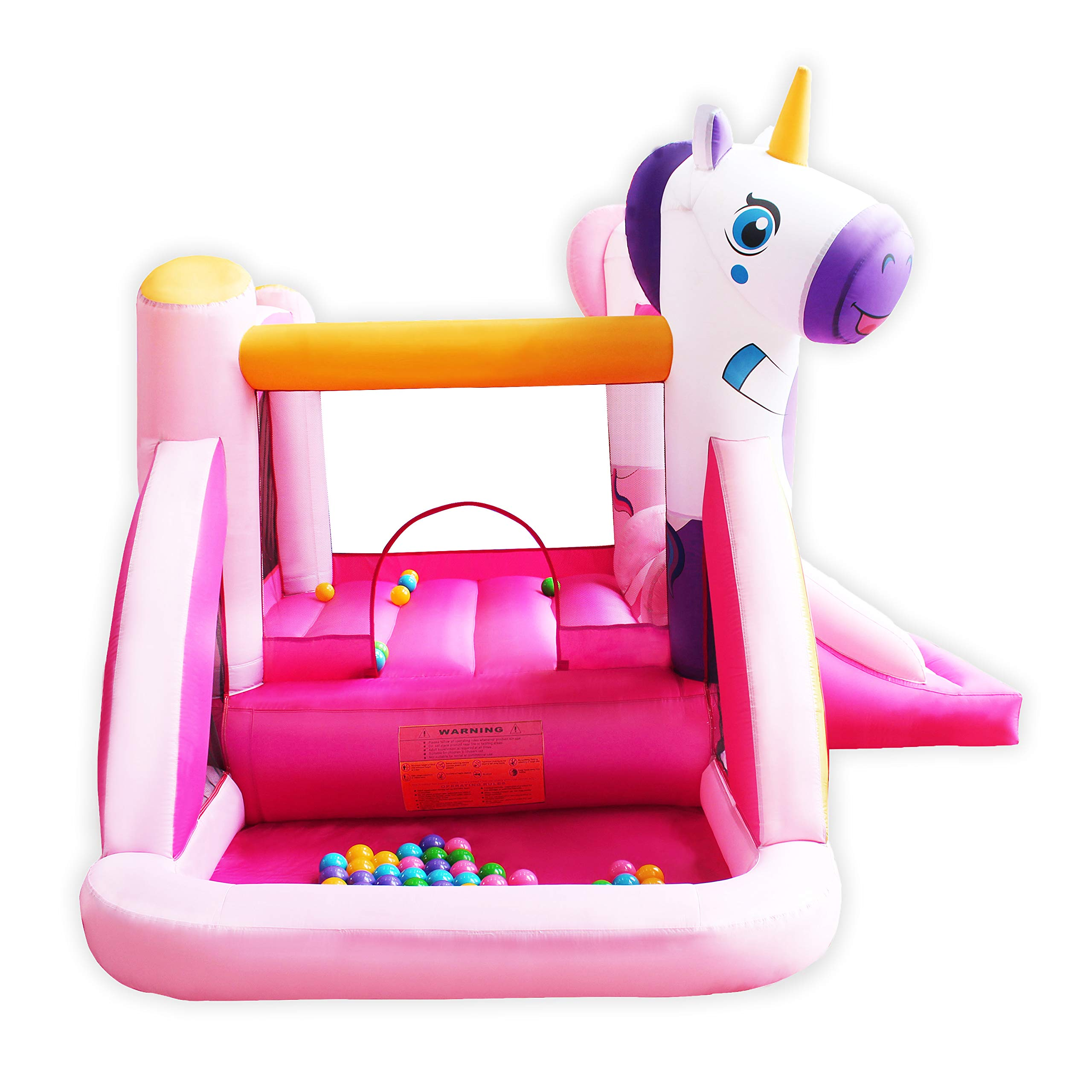 BESTPARTY Inflatable Bounce House with Slide for Princess Pink Unicorn Inflatable Bouncer House Jumper Houses by BESTPARTY (Image #5)