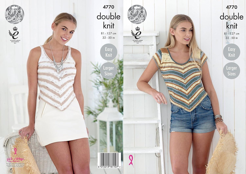 KNITTING PATTERN Ladies Long /&Short Sleeve Round Neck Lacy Jumper Sprite DK 4567