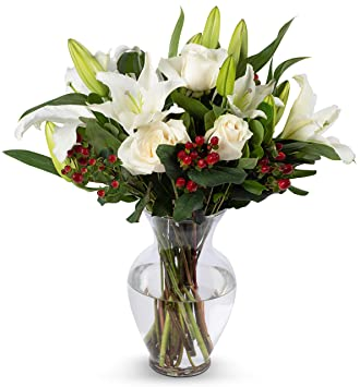 Benchmark Bouquets White Elegance Bouquet with Vase - Fresh Flowers - Overnight Shipping and Delivery -  sc 1 st  Amazon.com & Amazon.com : Benchmark Bouquets White Elegance Bouquet with Vase ...