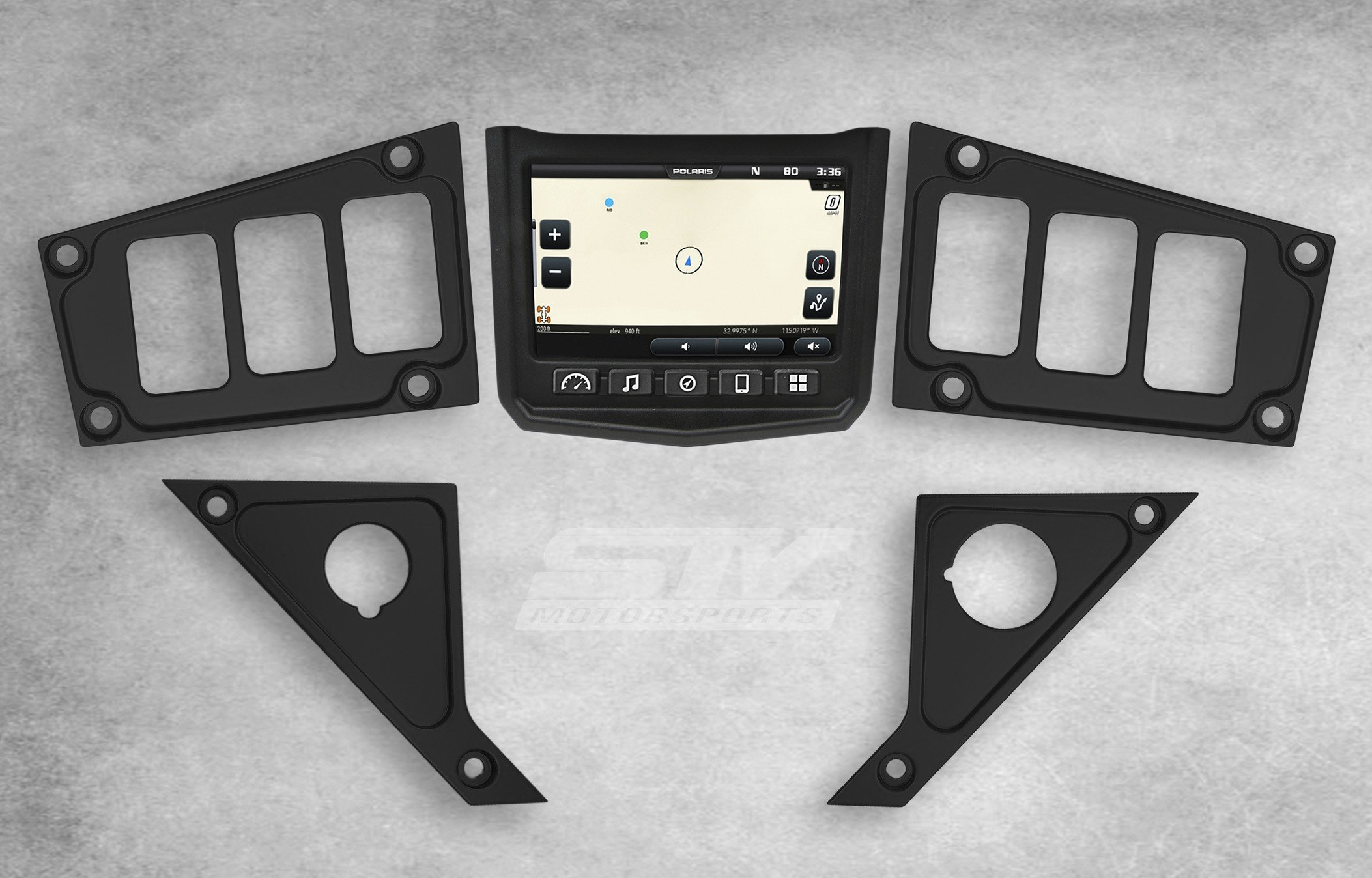 STV Motorsports Custom Black Aluminum Dash Panel for 2017 POLARIS RZR XP 1000 RIDE COMMAND EDITION with 6 switch openings – MADE 100% in USA