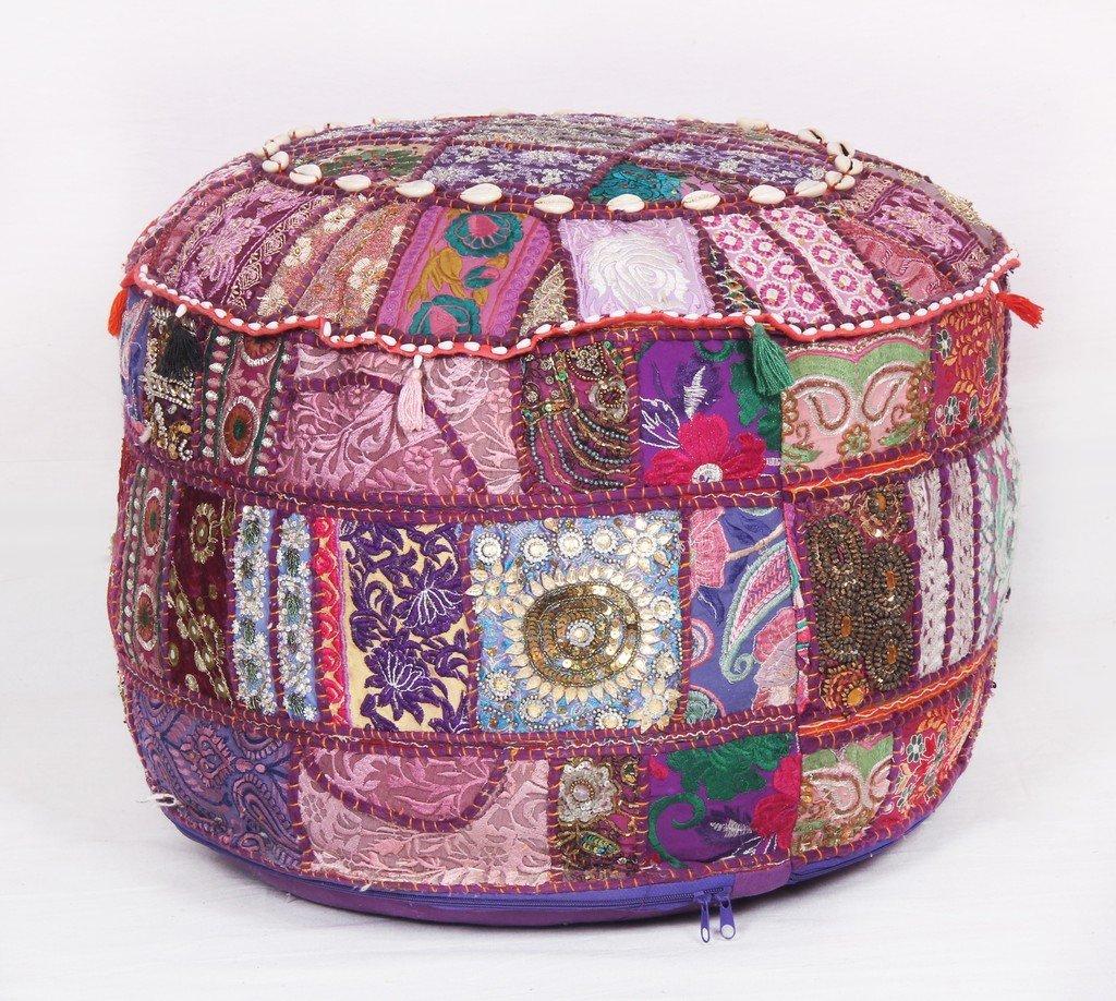 Bohemian Patchwork Pouf Ottoman Vintage pouffes Foot Stool Bean Bag Jaipur Textile Hub
